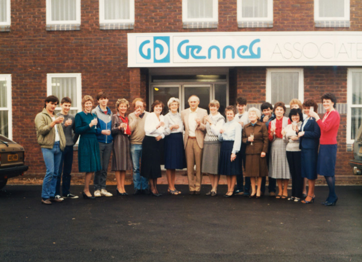 John Negus and team outside the brand new office in 1984.