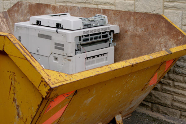 Photocopier in a skip