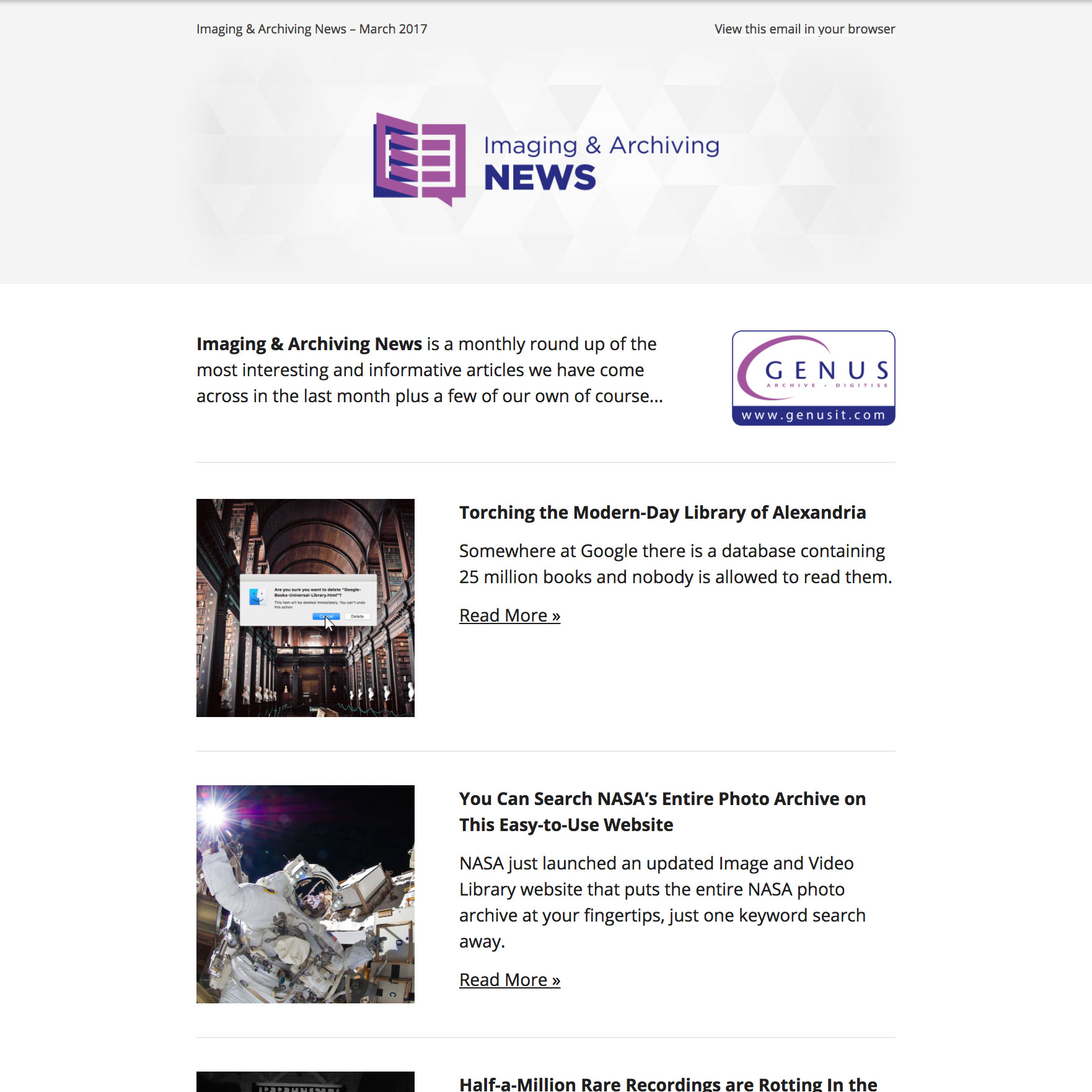 Imaging and Archiving News April